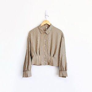 Zara Striped Cropped Shirt